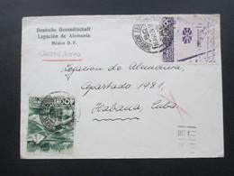 Mexico 1938 Luftpost / Airmail Nach Habana Cuba Deutsche Gesandtschaft Legacion De Alemania Congreso Internacional - Mexiko