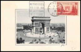 0142m/ Carte Maximum (card) France N°403 Arc De Triomphe Défilé Du 11 Novembre Rethondes 1938 - Maximum Cards