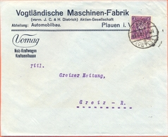 Duitse Rijk, Cover Vomag 1922 Automobile Truck Bus Autobus Firmenlochung VM Perfin Fine Used Plauen - Voitures