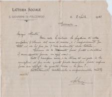 S. GIOVANNI DI POLCENIGO LATTERIA SOCIALE 1923 CURIOSITA' - Manuscritos
