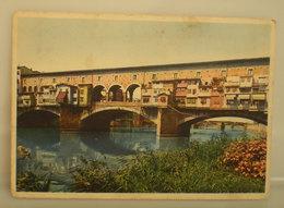 Firenze Arno Ponte Vecchio CARTOLINA 1939 Imperiale Con Targhetta Storia Postale - Firenze