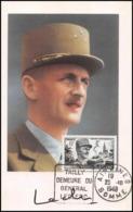 0520/ Carte Maximum (card) France N°815 Général Leclerc Hautecloque Tailly Airanes 28/10/1948 - Cartes-Maximum