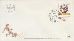 Enveloppe  FDC  1er  Jour   ISRAEL   Tournoi   Pré Olympique  De  Football  1968 - FDC