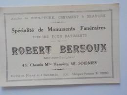 Soignies Chemin De Mlle Hannicq Marbrier Sculpteur Spécialités Monuments Funéraires Carte Pub - Soignies