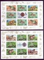 Korea 1992 Frogs Set 6v + 2 MS (blocs) IMPERF Mnh / ** Butterflies Toads Insects Fruit Snails Beetles Grapes Pumpkins - Korea, North