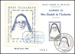 1602/ Carte Maximum (card) France N°1291 Héros De La Résistance Journées Mère Elisabeth Eucharistie 22/4/1961 Lyon - Cartes-Maximum