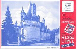 Pile MAZDA  -  Château De VILLARS - BUVARD  ( Format = 13,5cm X 21cm ) - Batterie