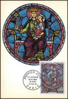 1806/ Carte Maximum (card) France N°1419 TABLEAU (PAINTING) Notre-Dame De Paris Rose Ouest Fdc Premier Jour - 1960-69