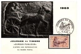 Saint-Dié Vosges 1963 - Journée Du Timbre - Char Cavalier Cheval Pferd Horse - Carte Entier - Marcophilie (Lettres)