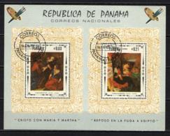 PANAMA - 1967 - DIPINTI SULLA VITA DI CRISTO: CON MARIA E MARTA, FUGA IN EGITTO - SOUVENIR SHEET - USATO - Panama