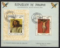 PANAMA - 1967 - DIPINTI SULLA VITA DI CRISTO: TRASFIGURAZIONE, CROCIFISSO - SOUVENIR SHEET - USATO - Panama