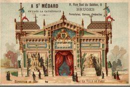 CHROMO  A SAINT-MEDARD PARAPLUIES CANNES OMBRELLES BRUGES  EXPOSITION DE 1889 LA VILLE DE PARIS - Trade Cards