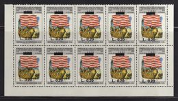 Honduras, Stamp Bicentennial Of The United States Of America, Overprint 1992, Block 10, Flag, Has Error, Scott C883, MNH - Honduras