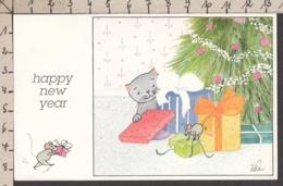 97156/ NOUVEL AN, Mignonette, Chat Et Souris Préparant Les Cadeaux De Noël, Illustrateur Ilsa - Nouvel An