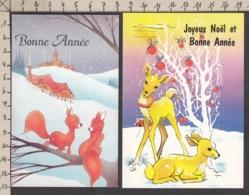97177/ NOUVEL AN, 2 Mignonettes, Biches Et Renards - Nouvel An