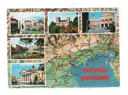 TREVISO - Souvenir Con 5 Vedute Panoramiche E Carta Geografica Del VENETO/FRIULI - Viaggiata - In Buone Condizioni. - Treviso