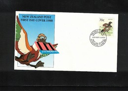 New Zealand 1988 Bird FDC - Oies