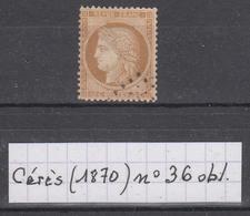 France Cérès Siège De Paris (1870) Y/T N° 36 Oblitéré à 15% De La Cote - 1870 Siège De Paris