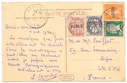 Algerie Type Blanc Semeuse Pasteur Sur Carte - Algérie (1924-1962)