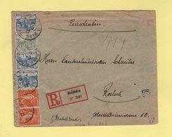 Orphelins - Lettre Recommandee Pour Rostock En Allemagne Avec Censure Au Dos - Molsheim - 11-9-1922 - Rare - Marcophilie (Lettres)