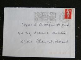 BORT LES ORGUES - CORREZE - FLAMME COEUR MASSIF CENTRAL SUR MARIANNE BRIAT - Marcophilie (Lettres)