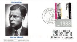 """BRD Schmuck-FDC: """"100.Geburtstag Von Hans Von Dohnanyi"""", Mi.2233 ESSt 10.1.2002 BERLIN ZENTRUM - [7] République Fédérale"""