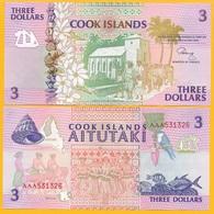 Cook Islands 3 Dollars P-7a 1992 UNC - Cook Islands