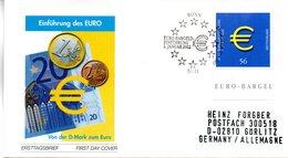 """BRD Schmuck-FDC: """"Einführung Der Euro-Münzen Und -Banknoten"""", Mi.2234 ESSt 10.1.2002 BONN - FDC: Buste"""