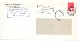 France Lettre Greve Des Postes 1974 Cachet De La Chambre De Commerce De Meaux Seine Et Marne - Postmark Collection (Covers)