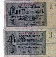 2 Anciens Billets Allemand - De 1 Rentenmark Du 30 Janvier 1937 - - [ 3] 1918-1933 : República De Weimar