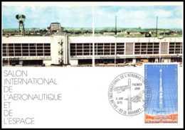 5457/ Carte Maximum France Poste Aérienne (PA) N°52 Salon International De L'Aéronautique Et De L'Espace Fusée Ariane - Maximum Cards