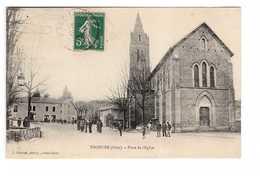 38 Thodure Place De L' Eglise Cpa Carte Animée Cachet 1907 Edit Charvat , Griffe Facteur B2 - Autres Communes