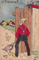 """CPA Grivoise Paysan Qui Urine Pisse Oie Qui Lui Mord Le Sexe Goose """"Aïe Maman !..."""" Humour Illustrateur (2 Scans) - Illustratoren & Fotografen"""