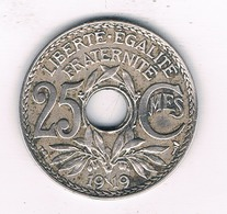 25 CENTIMES 1919 FRANKRIJK /2867/ - F. 25 Centimes