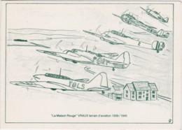 """Bt- Dépliant Format CPM """"La Maison Rouge"""" VRAUX Terrain D'avbiation 1939/1945 - France"""