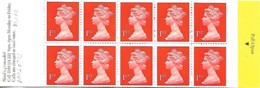 Grande-Bretagne Great Britain 1995 Elizabeth II 10 X 1 St (orange) Harrison ,1 Booklet Carnet Mnh - Carnets