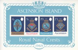 1969 Ascension Royal Navy Crests Military  Souvenir Sheet MNH - Ascension (Ile De L')