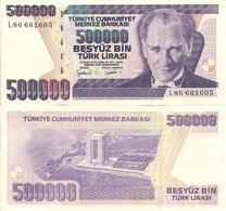 Turkey P212, 500,000 Lirasi, Ataturk / Martyrs' Memorial OVI Square, UNC $6 CV - Turkey