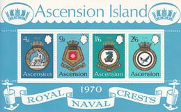 1970 Ascension Royal Navy Crests Military  Souvenir Sheet MNH - Ascension (Ile De L')