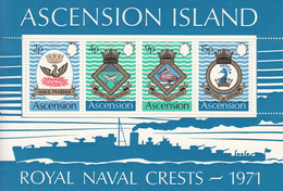 1971 Ascension Royal Navy Crests Military  Souvenir Sheet MNH - Ascension (Ile De L')
