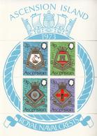 1973 Ascension Royal Navy Crests Military  Souvenir Sheet MNH - Ascension (Ile De L')