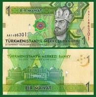 Turkmenistan P29, 1 Manat, Map, Togrul Beg Turkmen / Nat'l Cultural Center UNC - Turkmenistan