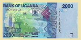 Uganda P50d, 2000 Shilling, Monument / Tilapia Fish UNC UV & WM Images HIGH TECH - Uganda