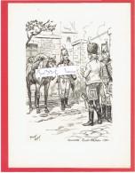 GRAVURE HUSSARDS ROYAL NASSAU 1763 ILLUSTRATEUR MAURICE TOUSSAINT - Uniformes