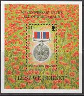 1995 Ascension End Of World War II Medal WWII Military   Souvenir Sheet MNH - Ascension (Ile De L')