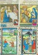Timbres Caritas 1987--1988 - ROIS MAGES, ANNONCE AUX BERGERS,PRESENT.AU TEMPLE,FUITE EN EGYPTE - Maximumkarten