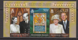 2007 Ascension QEII Wedding Anniversary   Complete Strip Of 3 MNH - Ascension (Ile De L')