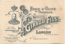 Carte Publicité Lançon Giraud Fils Huile D'olive De Provence - Francia