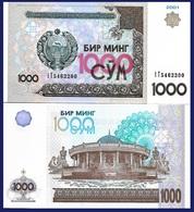Uzbekistan P82, 1000 Sum, Emir Temur Museum , UNC, 2001 $8 CV, See UV & W/m - Uzbekistan