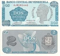 Venezuela P69, 2 Bolivars, Simon Bolivar / Arms, 1989, UNC , USBNC Printer - Venezuela